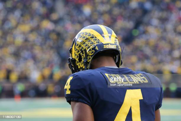Michigan Wolverines wide receiver Nico Collins looks down during a regular season Big 10 Conference game between the Ohio State Buckeyes and the...