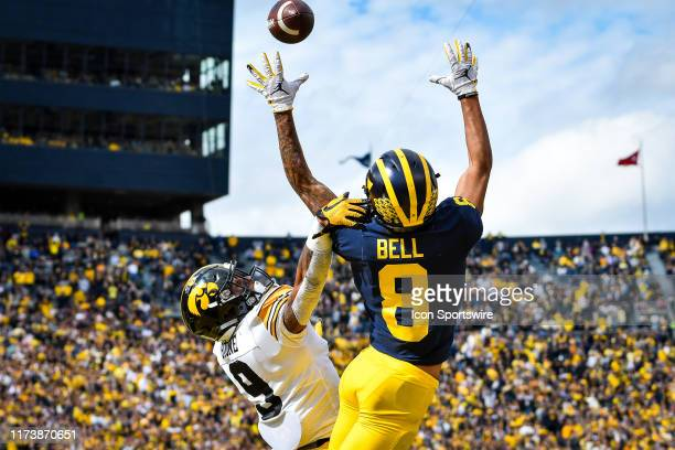 Michigan Wolverines wide receiver Ronnie Bell leaps high for this pass during the Michigan Wolverines versus Iowa Hawkeyes game on Saturday October 5...