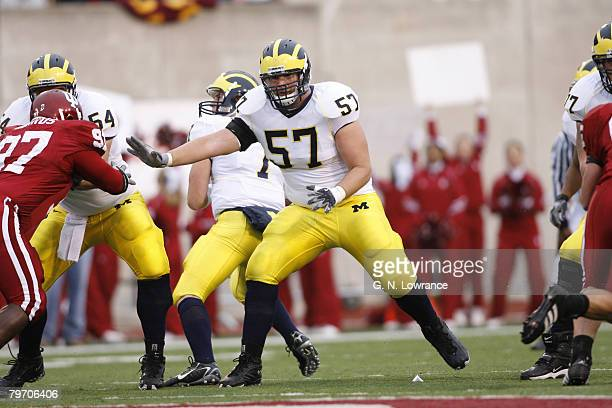 Michigan's Adam Kraus prepares to make a block during action between the Michigan Wolverines and Indiana Hoosiers at Memorial Stadium in Bloomington...