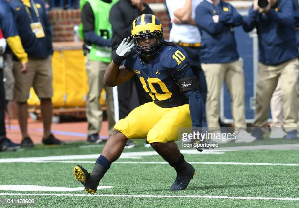 Michigan's Devin Bush in action during the Wolverines' 5610 win over Nebraska in a college football game on September 22 at Michigan Stadium in Ann...