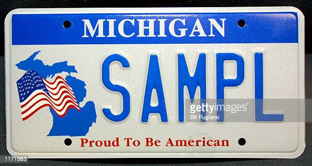 Michigan's new firstinthenation red white and blue patriotic license plate sits on display October 16 2001 at the Royal Oak Secretary of State's...