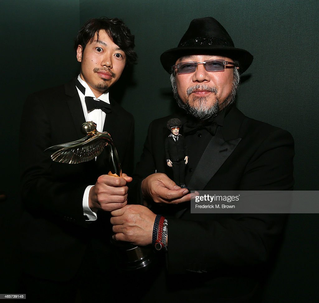Michihiko Nishihiyama (L) and Yoshihiko Dai are being honored during the 2014 International 3D and Advanced Imaging Society's Creative Arts Awards at the Steven J. Ross Theatre, Warner Bros. Studios on January 28, 2014 in Burbank, California.