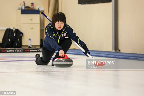 Michiko Tomabechi of Japan delivers a shot against Canada in the Curling Mixed Doubles Semi Finals during the Winter Games NZ at Naseby Curling Rink...