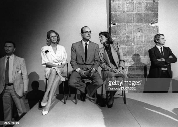 Michèle AlliotMarie Jacques Chirac et Micheline ChabanDelmas lors d'une conférence au CAPC musée d'art contemporain de Bordeaux le 9 juilllet 1987 en...