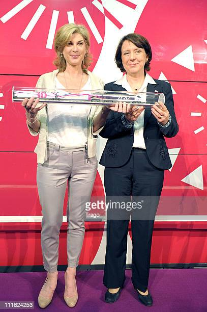 Michèle Laroque and Barbara Dalibard attend the SNCF presentation of the New Experimental Train at Gare Montparnasse on April 7 2011 in Paris France