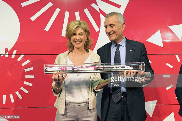 Michèle Laroque and Guillaume Pepy attend the SNCF presentation of the New Experimental Train at Gare Montparnasse on April 7 2011 in Paris France