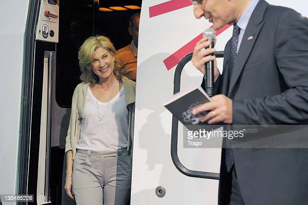 Michèle Laroque and Guillaume Pepy attend the TGV 30th Anniversary ceremony at Gare Montparnasse on April 7 2011 in Paris France