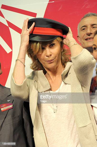 Michèle Laroque attends the TGV 30th Anniversary ceremony at Gare Montparnasse on April 7 2011 in Paris France