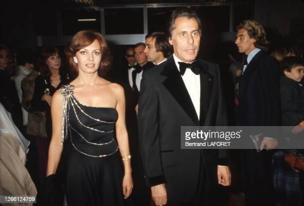 Michèle Mercier et son mari Claude Bourillot lors d'une soirée, circa 1970, en France.