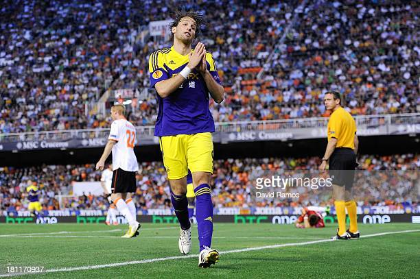 Michu of Swansea City celebrates after scoring his team's second goal during the UEFA Europa League Group A match between Valencia CF and Swansea...