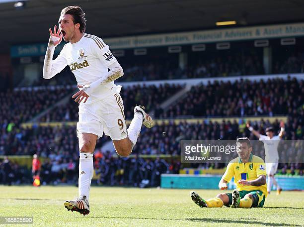 Michu of Swansea City celebrates his goal during the Barclays Premier League match between Norwich City and Swansea City at Carrow Road on April 6,...