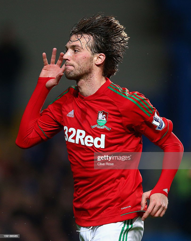 Michu of Swansea City celebrates scoring the opening goal during the Capital One Cup Semi-Final first leg match between Chelsea and Swansea City at Stamford Bridge on January 9, 2013 in London, England.