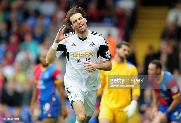 Michu of Swansea City celebtates his goal during the Barclays Premier League match between Crystal Palace and Swansea City at Selhurst Park on...