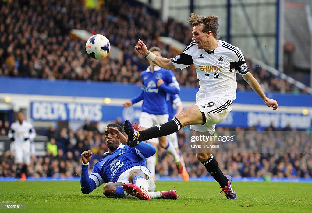 Michu of Swansea City is challenged by Sylvain Distin of Everton during the Barclays Premier League match between Everton and Swansea City at Goodison Park on March 22, 2014 in Liverpool, England.