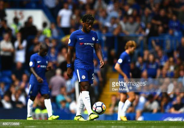 Michy Bashuayi of Chelsea walks off dejected at half time during the Premier League match between Chelsea and Burnley at Stamford Bridge on August 12...