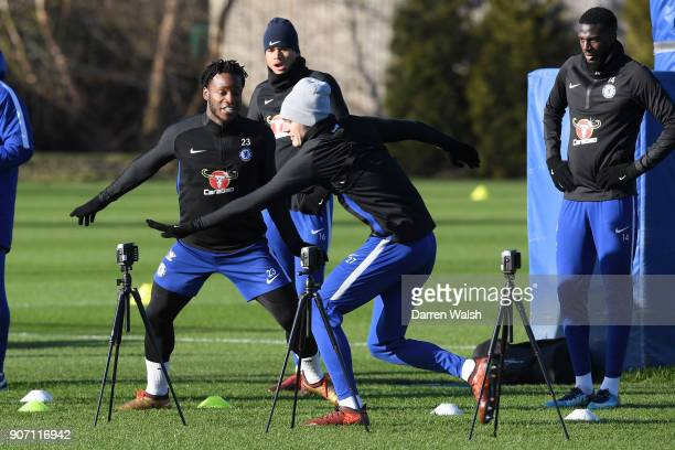 Michy Batshuayi and Andreas Christensen of Chelsea during a training session at Chelsea Training Ground on January 19 2018 in Cobham England