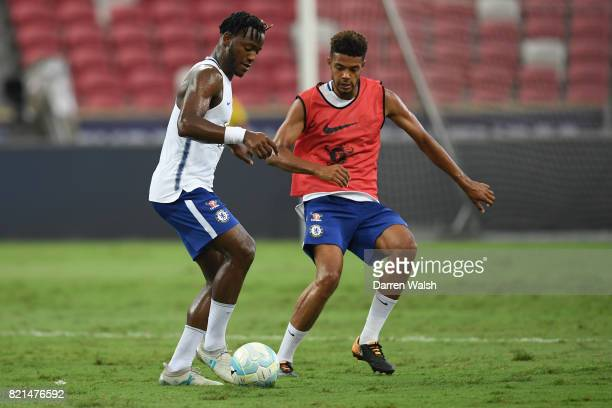 Michy Batshuayi and Jake ClarkeSalter of Chelsea during a training session at Singapore National Stadium on July 24 2017 in Singapore