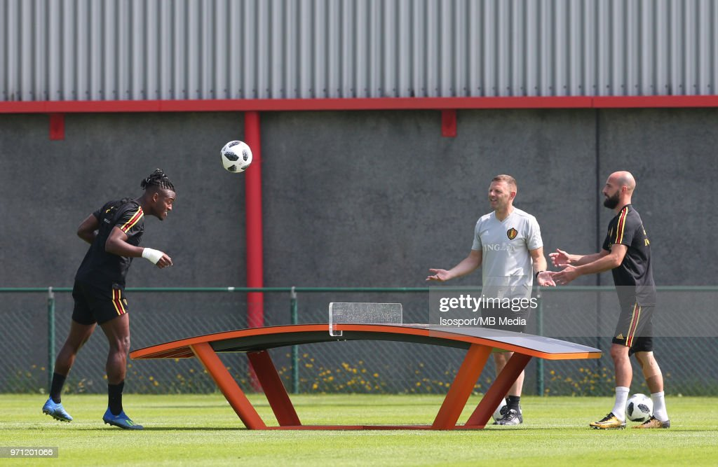 Michy BATSHUAYI and Laurent CIMAN pictured during a training session of the Belgian national soccer team ' Red Devils ' at the Belgian National Football Center, as part of preparations for the 2018 FIFA World Cup in Russia, on June 4, 2018 in Tubize, Belgium. Photo by Vincent Van Doornick - Isosport