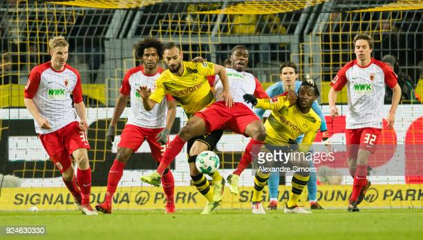 Michy Batshuayi and Oemer Toprak of Borussia Dortmund in action during the Bundesliga match between Borussia Dortmund and FC Augsburg at the Signal...