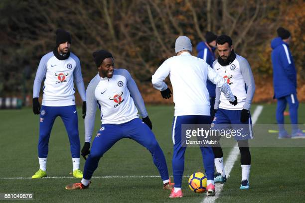 Michy Batshuayi and Pedro of Chelsea during a training session at Chelsea Training Ground on November 28 2017 in Cobham England