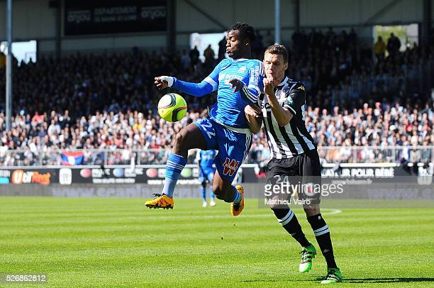 Michy Batshuayi and Romain Thomas during the French Ligue 1 match between Angers SCO and Olympique de Marseille on May 1 2016 in Angers France