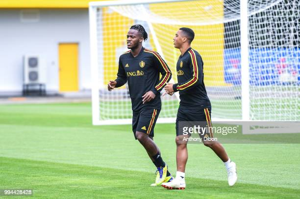 Michy Batshuayi and Youri Tielemans of Belgium during the Training Session of Belgium on July 9 2018 in Moscow Russia