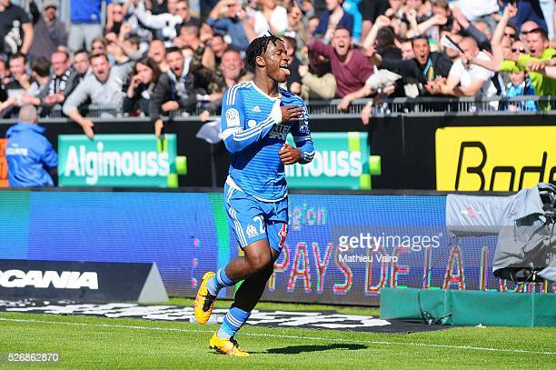Michy Batshuayi celebrates during the French Ligue 1 match between Angers SCO and Olympique de Marseille on May 1 2016 in Angers France