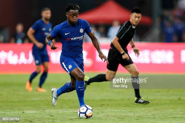 Michy Batshuayi dribbles during the PreSeason Friendly match between Arsenal FC and Chelsea FC at Birds Nest on July 22 2017 in Beijing China