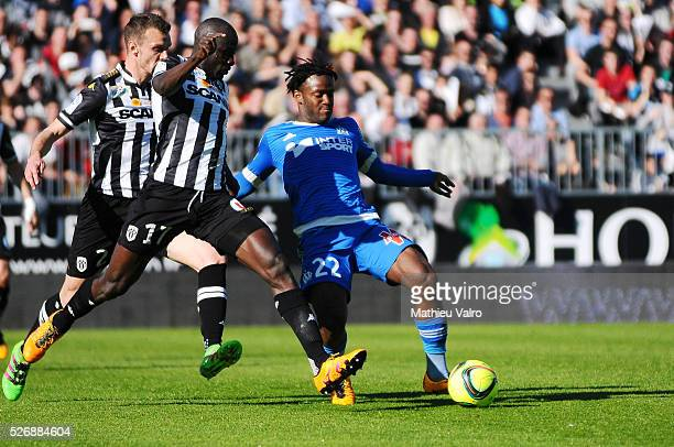 Michy Batshuayi during the French Ligue 1 match between Angers SCO and Olympique de Marseille on May 1 2016 in Angers France