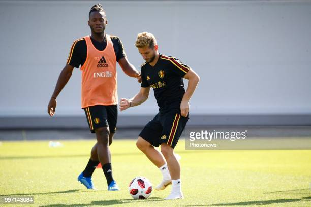 Michy Batshuayi forward of Belgium and Dries Mertens forward of Belgium during a training session as part of the preparation prior to the FIFA 2018...
