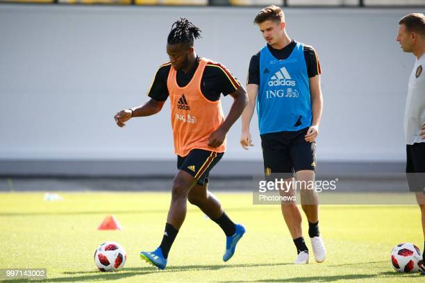 Michy Batshuayi forward of Belgium and Leander Dendoncker midfielder of Belgium during a training session as part of the preparation prior to the...