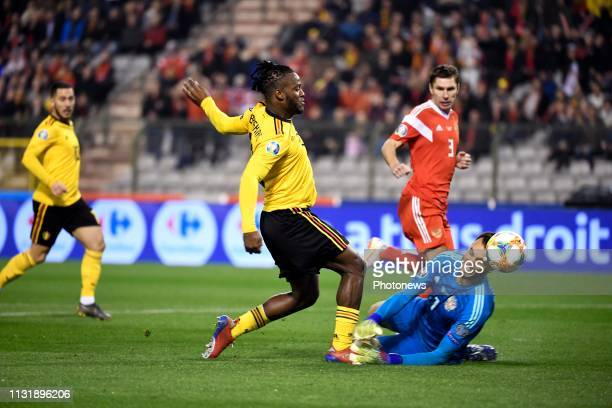 Michy Batshuayi forward of Belgium and Marinato Alvim Guilherme goalkeeper of Russia during the European Qualifier Group I match between Belgium and...