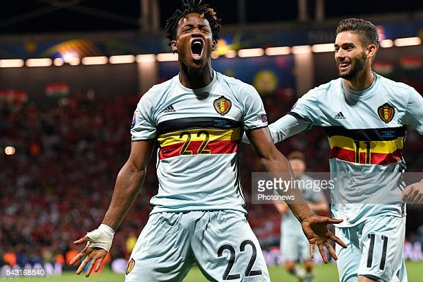 Michy Batshuayi forward of Belgium celebrates scoring a goal during the UEFA EURO 2016 Round of 16 match between Hungary and Belgium at the Stadium...