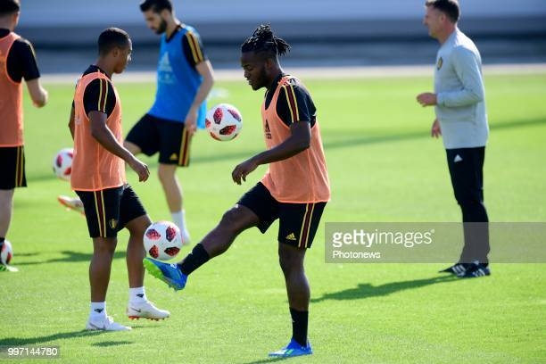 Michy Batshuayi forward of Belgium controls the ball during a training session as part of the preparation prior to the FIFA 2018 World Cup Russia...
