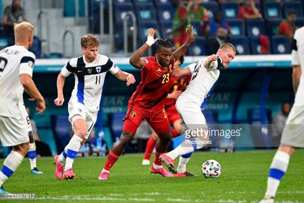 Michy Batshuayi forward of Belgium during the 16th UEFA Euro 2020 Championship Group B match between Finland and Belgium on June 21, 2021 in St...