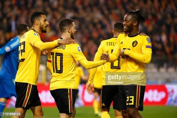 Michy Batshuayi forward of Belgium Eden Hazard midfielder of Belgium scores and celebrates during the European Qualifier Group I match between...