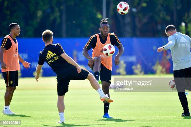 Michy Batshuayi forward of Belgium in action during a training session as part of the preparation prior to the FIFA 2018 World Cup Russia Playoff for...