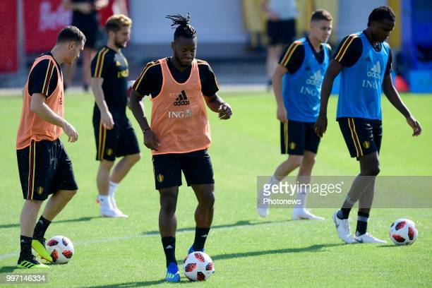Michy Batshuayi forward of Belgium pictured during a training session as part of the preparation prior to the FIFA 2018 World Cup Russia Playoff for...