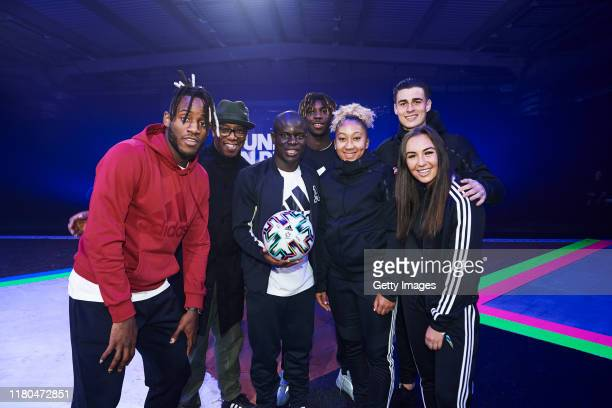 Michy Batshuayi Ian Wright N'Golo Kante Moise Kean Lauren James Kepa Arrizabalaga and Katie Zelem are pictured at the launch of adidas Uniforia – the...
