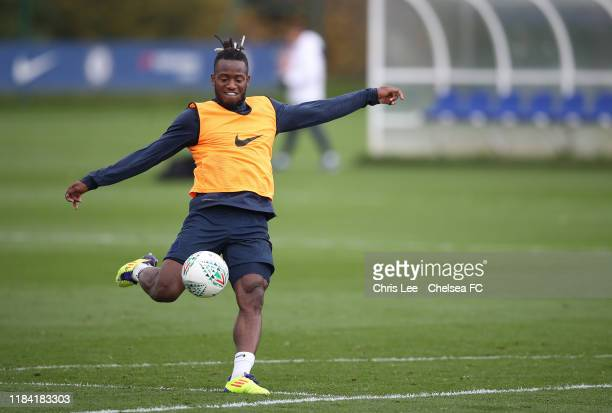 Michy Batshuayi in action at Chelsea Training Ground on October 29 2019 in Cobham England