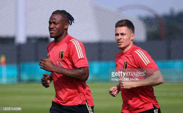 """Michy Batshuayi of Belgium and Thorgan Hazard of Belgium during a training session of the Belgian national soccer team """" The Red Devils """" ahead of..."""