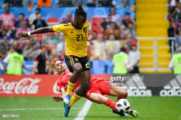 Michy Batshuayi of Belgium and Yohan Ben Alouane of Tunisia during the 2018 FIFA World Cup Group G match between Belgium and Tunisia at Spartak...