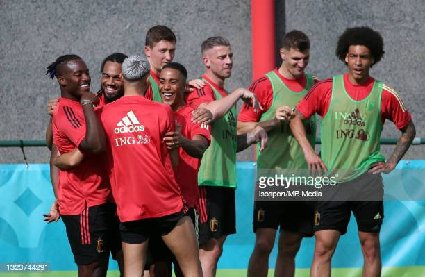 """Michy Batshuayi of Belgium and Youri Tielemans of Belgium during a training session of the Belgian national soccer team """" The Red Devils """" ahead of..."""
