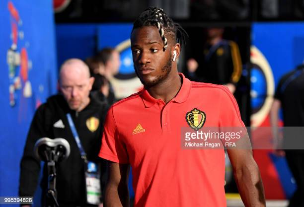Michy Batshuayi of Belgium arrives at the stadium prior to the 2018 FIFA World Cup Russia Semi Final match between Belgium and France at Saint...
