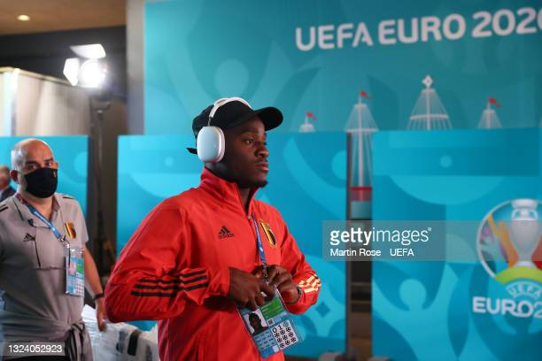 Michy Batshuayi of Belgium arrives at the stadium prior to the UEFA Euro 2020 Championship Group B match between Denmark and Belgium at Parken...