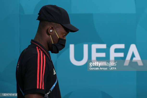 Michy Batshuayi of Belgium arrives at the stadium prior to the UEFA Euro 2020 Championship Group B match between Finland and Belgium at Saint...