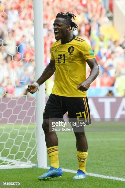 Michy Batshuayi of Belgium celebrates after scoring his team's fifth goal during the 2018 FIFA World Cup Russia group G match between Belgium and...