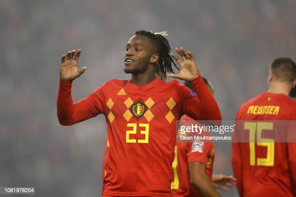 Michy Batshuayi of Belgium celebrates after scoring his team's first goal during the UEFA Nations League A group two match between Belgium and...
