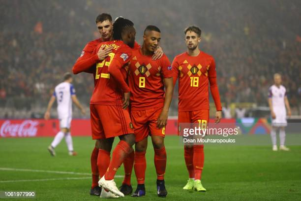 Michy Batshuayi of Belgium celebrates after scoring his team's second goal with his team mates during the UEFA Nations League A group two match...