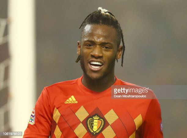 Michy Batshuayi of Belgium celebrates after scoring his team's second goal during the UEFA Nations League A group two match between Belgium and...